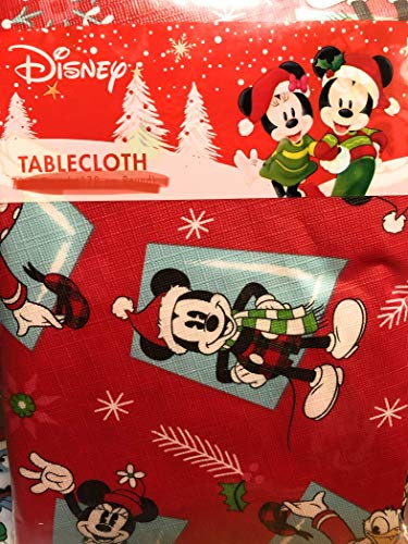 Disney Christmas Vinyl Tablecloth Red Mickey Mouse