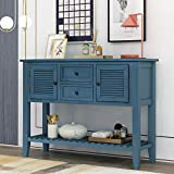 LUMISOL Retro Console Table Buffet Sideboard Sofa Table with Storage Drawers Cabinets and Bottom Shelf for Entryway (Navy)