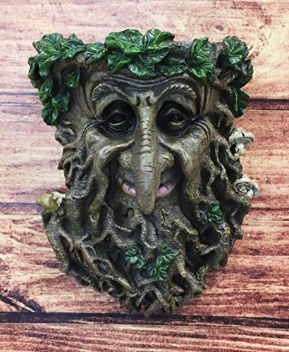 "Ebros Nature Spirit God Big Nose Leafman Gargoyle Celtic Greenman Hanging Wall Decor Plaque 9"" High Wiccan Tree Of Life Forest Shepherd Horned God Cernunnos Ent Mythical Fantasy Decorative Sculpture"