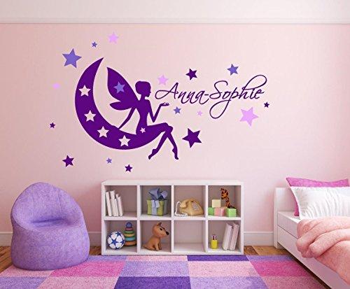 XL Mädchen Wandtattoo mit Namen, 72467-110x58cm-tricolore-violett, Fee mit Schmetterlingen und Sternen fürs Mädchenzimmer, Kinderzimmer, Wandaufkleber Wandtatoos Sticker Aufkleber für die Wand