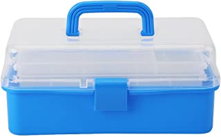 Transparent Foldable Three Layers Storage Box Tool Plastic Art Craft Supply Case Organizer Container Case with Handle(Blue)