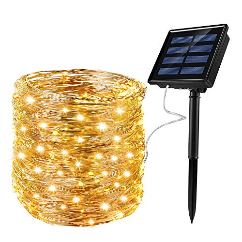 Solar Fairy Lights Waterproof 72ft 200LED Small Solar Lights String Outdoor 8 Modes for Christmas, Garden,Gate,Party,Wedding Patio,Warm White for Heeopw