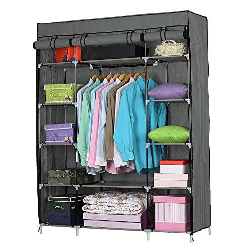 Stoffkleiderschrank, tragbarer Kleiderschrank, Kleiderschrank, Regale, Kleideraufbewahrung, Organizer, für Taschen, Spielzeug, Schuhe, Wohnzimmer, Schlafzimmer, Garderobe (133 x 46 x 170) cm, grau