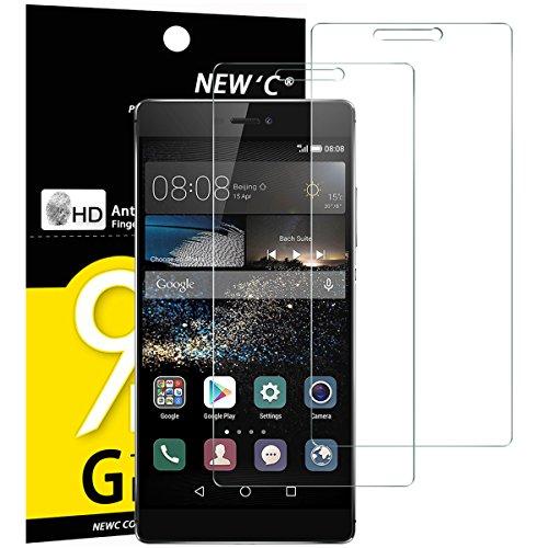 NEW'C 2 Unidades, Protector de Pantalla para Huawei P8, Vidrio Cristal Templado