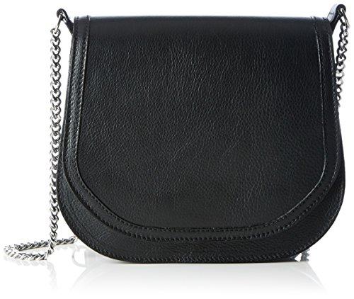 kaviar gauche Damen Petite Bag Plain Schultertasche, Schwarz (Black/Silver), 7x19x22 cm