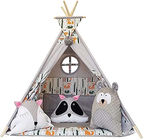 MEGA Tipi Teepee Indianerzelt für Kinder Indianer Spielzelt Zelt Tent Namiot Wigwam Jungen Mädchen Kind (Wald_1)