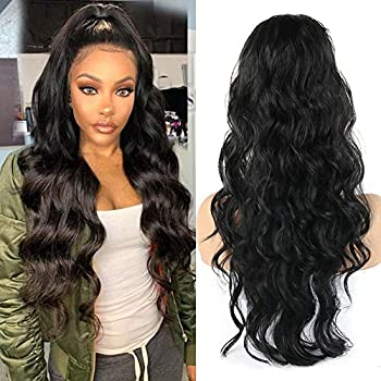 LEOSA 24 Inch Long Body Wave Ponytail Extension Drawstring Heat Resistant Curly Wavy Synthetic Wrap Around Ponytail Black Hairpiece for Women  Black