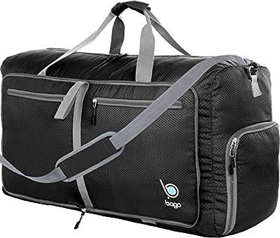 """Bago 60L Duffle Bags for Men & Women - 23"""" Foldable Travel Duffel Weekender Bag (Black) from Bago"""