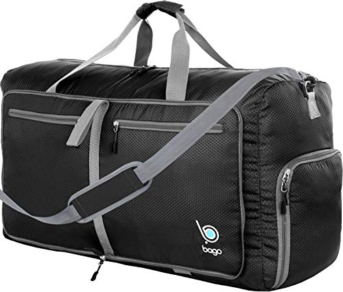 Bago 60L Duffle Bags for Men & Women - 23' Foldable Travel Duffel Weekender Bag (Black)