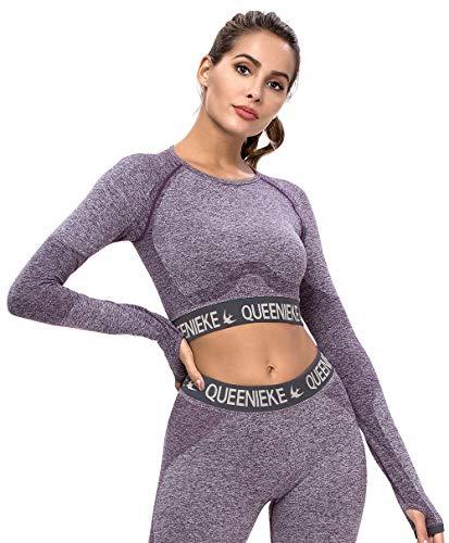 QUEENIEKE Sport T-Shirts für Damen Langarm Crop Top Seamless Fitness Oberteile(0/2, Violett)