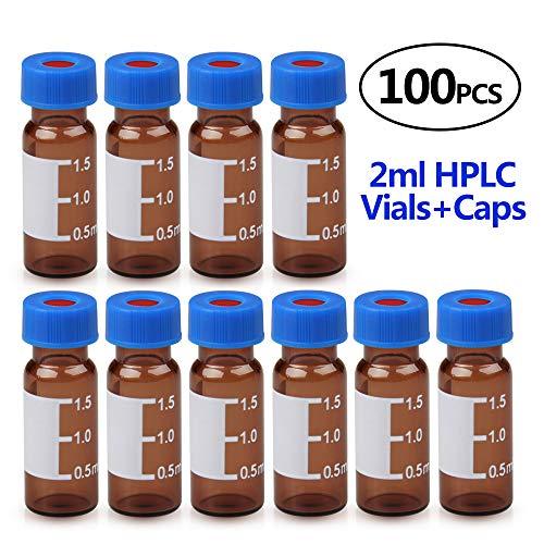 Four E'S Scientific 100x Braune 2ml Leere Glasflaschen Probenflakon Autosampler-Flakons für Ätherisches Öl,E-Liquids,Aromatherapie,Parfüm,Massage,Chemielabor