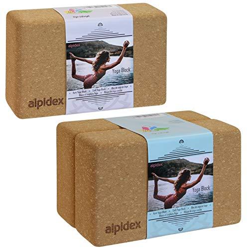 ALPIDEX Blocco Yoga Block Sughero Naturale Brick Eco Legno 1 Blocco o Set di 2, Dimensione:2 Pezzi - 23 x 14 x 7.5 cm