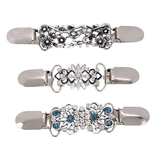 3 piezas Patrón de flores huecas Cardigan Clip Broche Suéter Pins Clips Elegantes vestidos de diamantes de imitación Cardigan Collar Clip para mujeres Suéter Blusa Chal