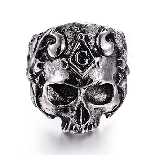 Anillo calavera retro VUJK para hombre, anillos calavera vid acero inoxidable 316L, anillos joyería motociclista fiesta masones, 10