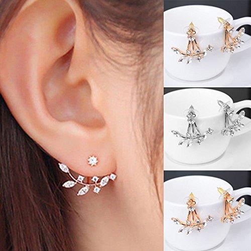 Uteruik Silver Plated Leaf Crystal Ear Jacket Dubbele Zijdelings Swing Stud Oorbellen, 1Paar, Zilver