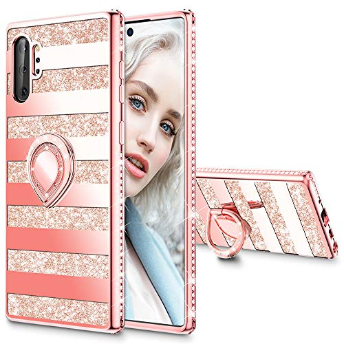 Maxdara Glitter Case for Galaxy Note 10+ Plus Case Glitter Ring Kickstand Case for Gilrs Women with Bling Sparkle Diamond RhinestoneHolder Case for Samsung Galaxy Note 10+ Plus 5G (Stripe Rosegold)
