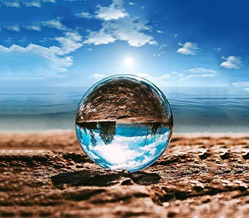 MerryNine クリスタルボール 80mm 無色透明 水晶玉 ガラス玉 ガラスのボールクリスタル台座付き 拭き取り布 風水グッズ マジックボール インテリア 置く物 女性向け クリスマス 新年 プレゼント (80mm(クリスタル台座付))