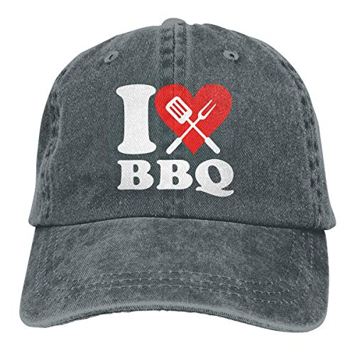 Hoswee Gorra de Béisbol Ajustable I Love BBQ 1-1 Adult Personalize Denim Hip Hop Cap Snapback Sombreros