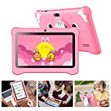 Tablet per Bambini with WiFi Schermo IPS 7 Pollici Android 10.0 GMS Certificato, Kids Tablet con WiFi 3 GB RAM e 32 GB Rom Google Play Quad-Core Preinstallato Educazione, per Bambini Regalo (Rosa)