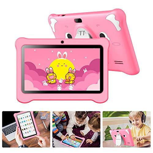 Tablet para Niños 7 Pulgadas, Tablet Infantil con ROM de 32GB Ampliable hasta 128GB, Tablet Niño Processore Quad-Core con WiFi, Android 9.0, RAM de 2GB Entertainment Educativo Doble Cámara (Rosado)