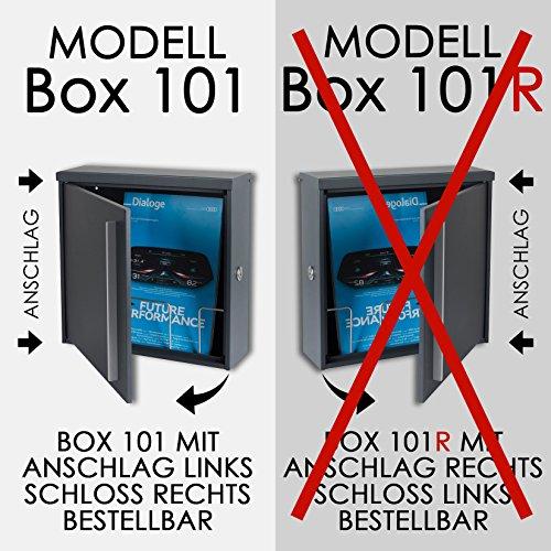 Briefkasten MOCAVI Box 101 anthrazitgrau (RAL 7016)/grau 12 Liter Wandbriefkasten - 5