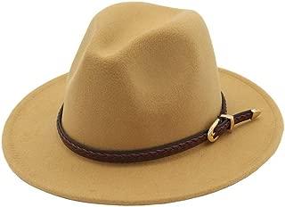 BeltFor Elegant Lady Jazz Church Godfather Sombrero Cap Wool Women Men Outback Fedora Hat (Color : Light Coffee, Size : 56-58)