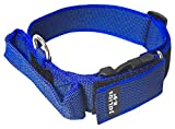 Julius-K9 Collar Color & Gray con la manija, la cerradura de seguridad y el remiendo intercambiables, 40 mm 38/53 cm, Azul/Gris