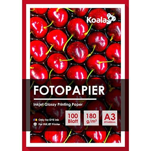 Koala Fotopapier Glänzend Glossy A3 100 Blatt Dünn Inkjet Tintenstrahldrucker