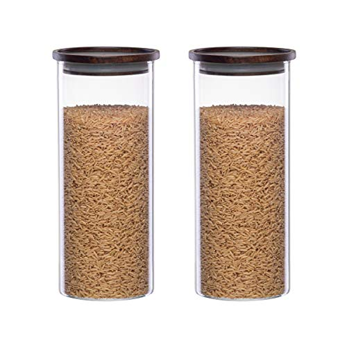 Essos Glass Jars with Wood Lids Set of (2) 48 fl oz Airtight and Stackable Storage Containers for...