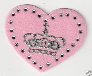 Pink Felt Heart Silver Crown Rhinestone Iron on Sew On Patch