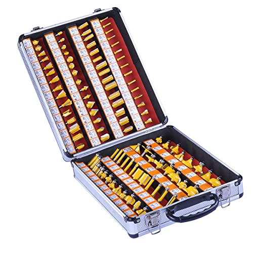 100 Pcs Router Bit Set, 1/4-Inch Shank Woodworking Routing Drill Bits Kit, with Aluminum Storage Case, for Beginners to Commercial Users