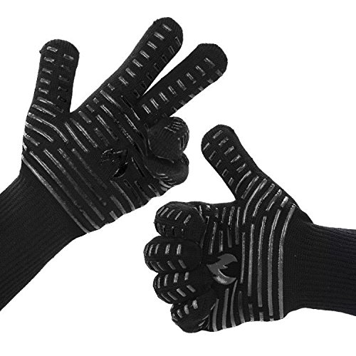 "BETLLEMORY BBQ gloves Grill gloves,932℉ Extreme Heat Resistant Oven gloves,13.5"" Anti-Slip Oven mitts, Durability and Stretchy Aramid Cook&Kitchen&Industrial Heat Treatment Gloves (Black)"