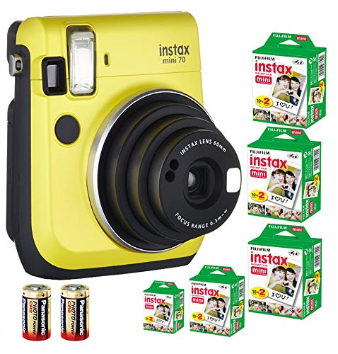 Bundle Fuji Instax Mini 70 Instant Camera Yellow + 100-shot Film + 2 Spare CR2 Battery: all you need to start Instant photography