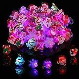 Gejoy 75 Piezas Anillos LED de Navidad Anillos de Iluminación Anillos de Dedo con Flash Anillos Luminosos para Suministros de Fiesta de Navidad