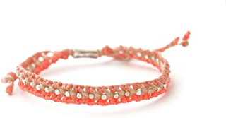 Wakami Beaded Bracelets for Women | Handmade, Braided Bracelet | Pink Bracelet, Boho Bracelets for Women | Wax Coated Stri...
