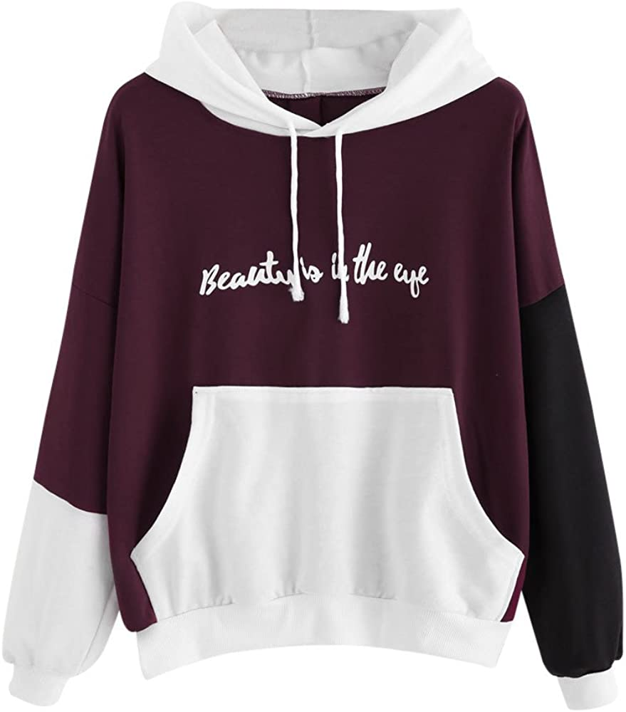 POTO Womens Pullover Hoodies Patchwork Tops Long Sleeve Sweatshirt Letter Print Tee Shirts Casual Tops Blouse