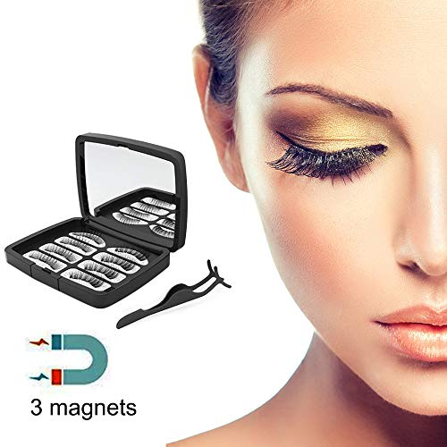Magnetic Eyelashes Reusable Magnetic False Eyelashes 3D False Eyelashes Natural Look For Makeup Eyelashes Extension for Charming Eyes with Mirrow and Tweezers(Upgrade Version) (Black)