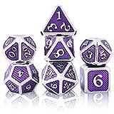 Set de Dados de rol Poliédrico Dice Set, 7 Piezas Juego de Dados DND Aleación de Zinc Sólido de Metal RPG D&D Dados Juegos de rol Dados para Dungeons and Dragons Juego de Mesa (Chrome - Violet)