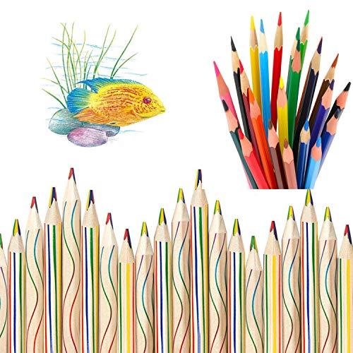 WELLXUNK Lapices de Colores,20 Piezas 4 en 1 lápices de Colores y 12 Piezas de Lápices Coloridos Arcoiris para Arte Dibujo, Colorear y Bosquejar