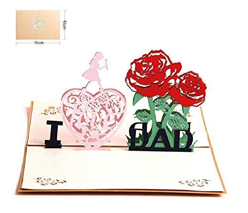 Tarjeta para el día del padre, Deesospro® tarjeta de cumpleaños de Regalo para el papá, tarjeta de felicitación de 3D Pop-Up, el mejor regalo para el cumpleaños de papá o aniversario(I Love Dad)