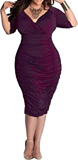 Womens Plus Size Deep V Neck Wrap Ruched Waisted Bodycon Dress