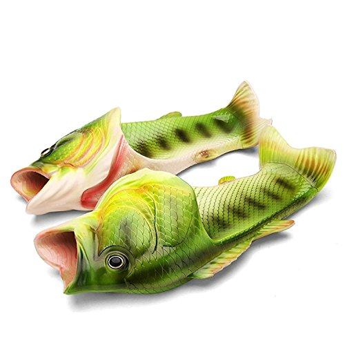 Unisex Hausschuhe Lustige Strand Badeschuhe Sommer Ultraleicht rutschfeste Fisch Pantoffeln Schuhe für Damen Herren,Grün,39 EU