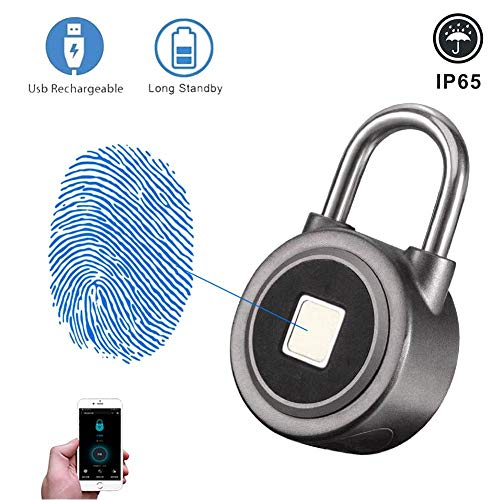 YCHBOS Fingerprint Bluetooth Biometric Keyless Smart Padlock, IP65 Waterproof Anti-Theft Electronic Portable USB Rechargeable Door Lock with 10 Set of Fingerprints