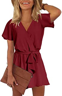 Womens Summer V Neck Ruffles Short Sleeve Belted Wrap Short Jumpsuit Rompers