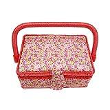 Morza Kleines Sewing Basket Printed Design Nähen Werkzeuge Storage Box mit eingebauten in Pin Cushion Innentasche