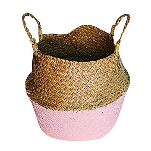 BANGSUN Cesta tejida para colgar hecha a mano de algas marinas, de mimbre, plegable, color rosa