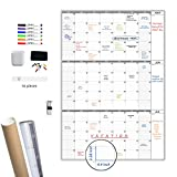 Large Dry Erase Wall Calendar 3 Month Calendar - Blank Undated Reusable Quarterly Calendar - Whiteboard Premium Laminated Poster - Laminated Office Jumbo - 36x52 Inches (Vertical)