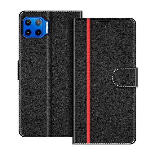 COODIO Handyhülle für Motorola Moto G 5G Plus Handy Hülle, Motorola Moto G 5G Plus Hülle Leder Handytasche für Motorola Moto G 5G Plus Klapphülle Tasche, Schwarz/Rot