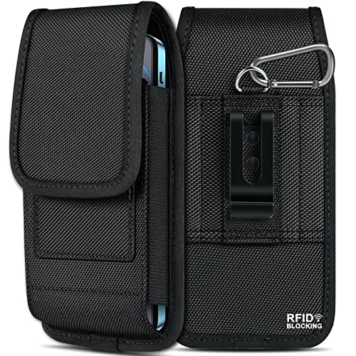 ykooe RFID Blocking Holster for iPhone 13, 13 Pro, 13 Pro Max, XS Max Vertical Nylon Belt Pouch Holder with Card Slot for Samsung Galaxy S21 FE A22 A32 A42 A02s A13 Motorola One 5G Ace, Black
