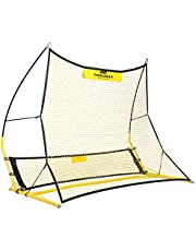 PodiuMax uppgraderad bärbar 2 i 1 fotboll studenät för att förbättra passning och soloskicklighet, 1,8 m x 1,4 m